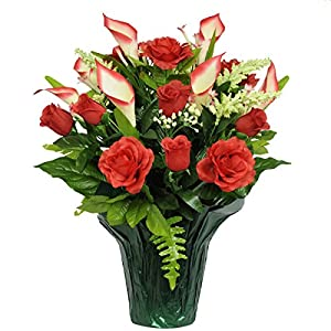Red Rose and Calla Lily Artificial Weighted Potted Bouquet (PT1140) 20
