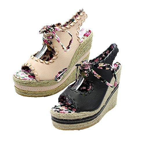 Peep toe mimbre cuña zapatos / sandalias Beige