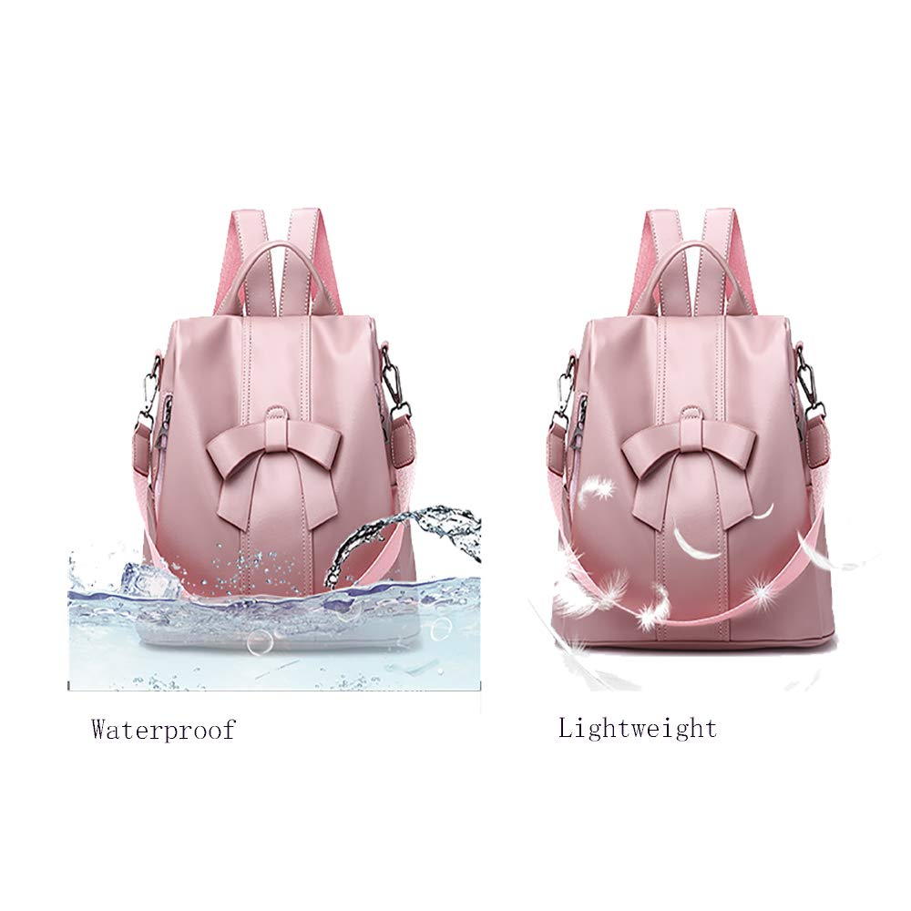 Alipher Women Backpack Waterproof PU Leather Backpack Fashion Travel Rucksack Shoulder Bag Purse With Bowknot