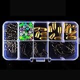 Yosemire 115pcs Kit de Pesca Aparejo de Caracteres Anillos Perlas de Bala de Cobre Crank anzuelos Circulares Doble Accesorios de Pesca Set Set Accesorios de Pesca (115pcs)