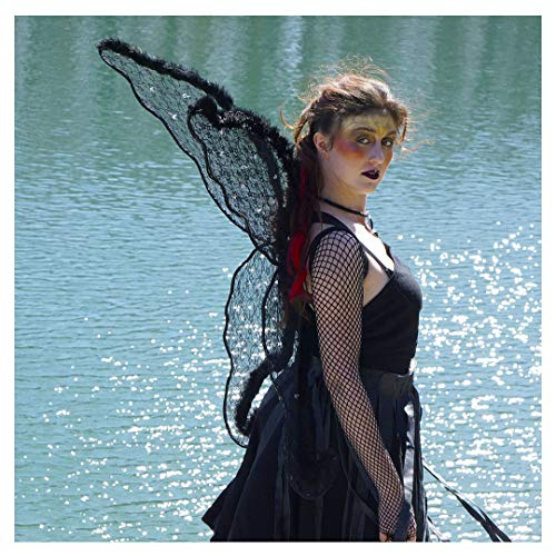 Zucker Feather Products Black Angel Adult Costume-Large Fairy Lace and Feather Wings Halloween or Cosplay