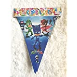 "PJ Masks 8' Foot Flag Banner Backdrop Poster, 10 flags measuring 9"" x 11"" Plastic, Partyware tableware Party Favor Decorations Disney Jr – 1 pc"