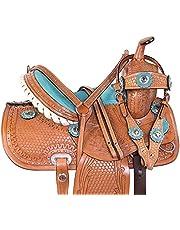 "Urban Leathers Kids Western Saddle Tack Horse OR Pony Size Barrel Racer Show Trail Riding Tooled Leather Size (10""-18"")"