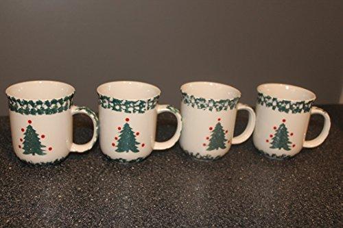 ((4) Winter Wonderland by TIENSHAN Folk Craft TREE Mugs Cups Discontinued Fast Shipping)