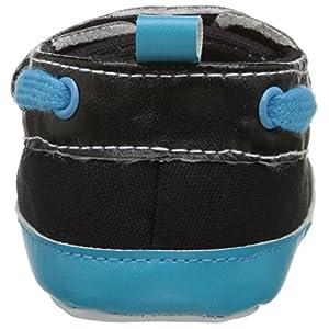 Luvable Friends Bright Boys Crib Boat Shoes (Infant), Black/Aqua, 12-18 Months M US Infant