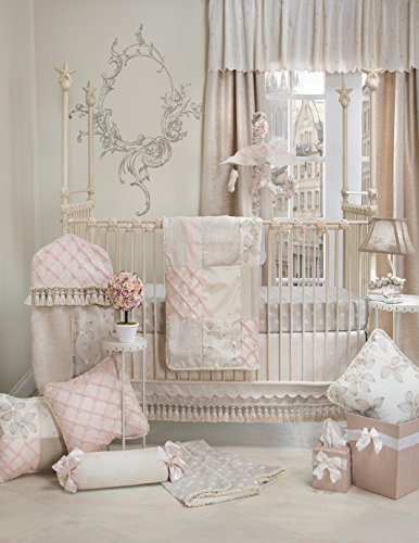 Nursery Jean Glenna Bedding - Crib Bedding Set Florence by Glenna Jean | Baby Girl Nursery + Hand Crafted with Premium Quality Fabrics | Includes Quilt, Sheet and Bed Skirt with Pink and Ivory Accents