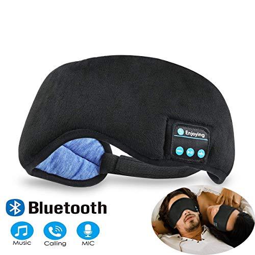 (Bluetooth Sleeping Eye Mask Headphones, Black Wireless Sleep Headphone, Built-in Bluetooth 4.2 Speakers Microphone Adjustable&Washable, Perfect for Air Travel,)