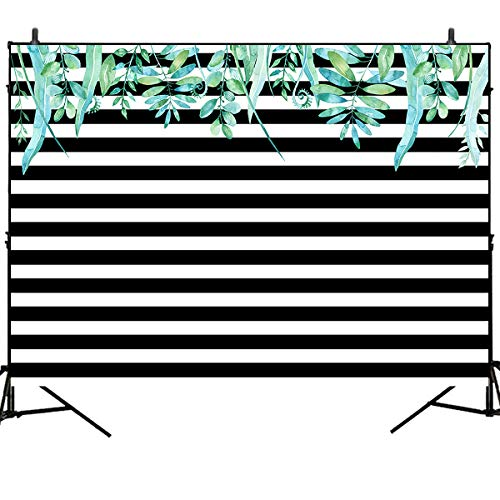 Green Stripe Background - Mehofoto Black and White Stripes Backdrops 7x5ft Green Leaves Photography Backdrops Birthday Party Photo Studio Booth Background