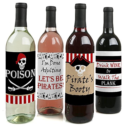 Beware of Pirates - Pirate Halloween or Birthday Party Wine Bottle Label Stickers - Set of 4 (Pirate Halloween Sayings)