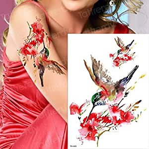 tzxdbh Tatuaje Temporal Mujer colibrí Manga Tatuaje Color de Agua ...