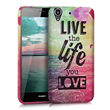 kwmobile TPU SILICONE CASE for Huawei Y6 Design Live the Life multicolor dark pink blue - Stylish designer case made of premium soft TPU