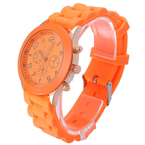 OFTEN Popular Silicone Quartz Men Women Girl Boy Unisex Jelly Wrist Watch - Orange Womens Watch