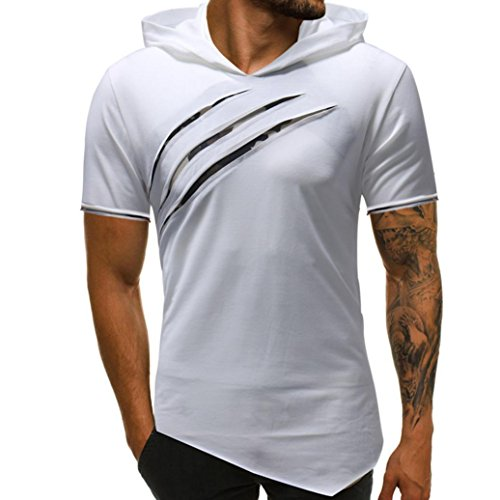 vermers Men's Hoodie T Shirts Fashion Personality Pure Color Sport Short Sleeve Tee Tops(M, White)