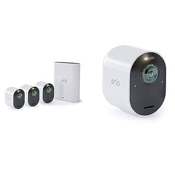Arlo Ultra 4K - Pack de 4 Smart Caméra avec éclairage intégré - Rechargeable, sans fil, 4K HD, Audio bi-directionel, étanche, jour/nuit, compatible avec Alexa - VMS5440 -100EUS