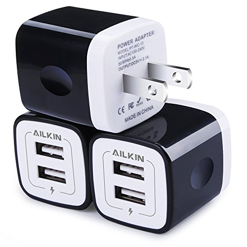 USB Wall Charger, Charger Adapter, Ailkin 3-Pack 2.1Amp Dual Port Quick Charger Plug Cube Replacement for iPhone 7/6S/6S Plus/6 Plus/6/5S/5, Samsung Galaxy S7/S6/S5 Edge, LG, HTC, Huawei, Moto, Kindle