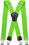 Decalen Mens Suspenders Very Strong Clips Heavy Duty Braces Big and Tall X Style (Green Neon)