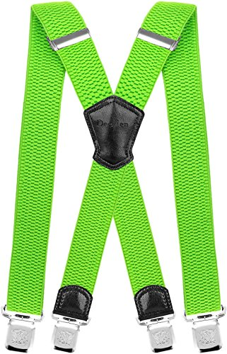 Decalen Mens Suspenders Very Strong Clips Heavy Duty Braces Big and Tall X Style (Green Neon) (Best Suspenders For Snow Pants)