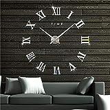JUHUA Silenciar DIY Frameless Gran Reloj de Pared Números Romanos 3D Relojes de Pared Espejo Pegatina para Ministerio del Interior Decoraciones - 2 Años de Garantía (Negro),Silver