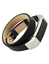Fitbit Alta Watch Band, ABC® Genuine Leather Double Tour Strap Bracelet Watch Band for Fitbit Alta (Black)