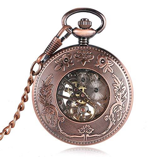 ZJZ Fickur rosguld rand design handlindande mekaniska fickur för män kvinnor pappa mamma retro klocka