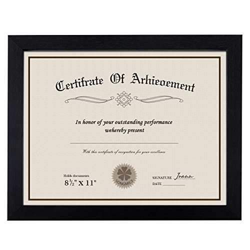 (SONGMICS Document Frame for 8.5 x 11 Inches Certificate, Certificate Frame Diploma Frame, Picture Frame 8.5 x 11 Inches, Glass Protection Front Wooden Black URPF08BK)
