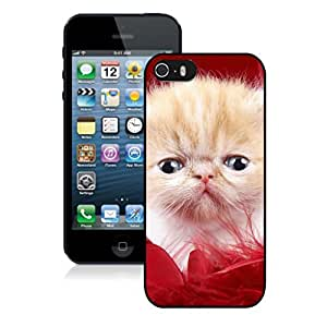 Personalization Red Fur Christmas Cute Cat Black Phone Case For Iphone 5s,Iphone 5 TPU Case,Apple Iphone 5s