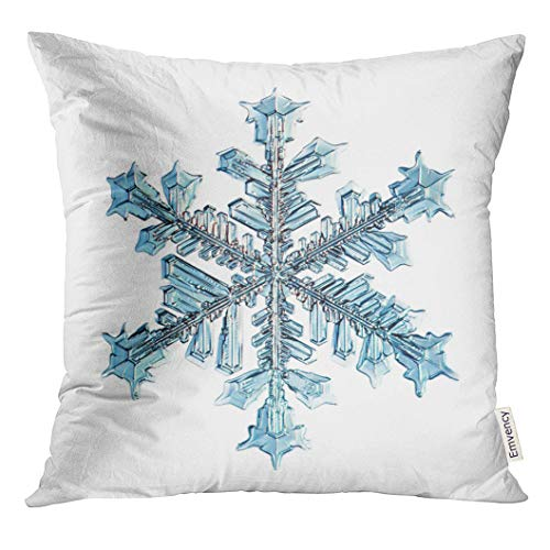 UPOOS Throw Pillow Cover Blue Ice Snowflake Natural Crystal Black Snow Star Decorative Pillow Case Home Decor Square 18x18 Inches Pillowcase - Crystal Black Ice Square