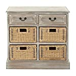 "Deco 79 96285 Wood 4 Basket Dresser, 30"" x 28"", Taupe"