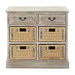 Bedroom Deco 79 96285 Wood 4 Basket Dresser, 30″ x 28″, Taupe farmhouse dressers