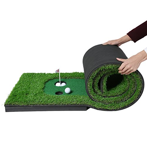 Golf Putting Mat,OUTAD Indoor Golf Training Mat Putting Green System Professional Golf Practice Mat Green Long Challenging Putter(1.6ftx10ft) by OUTAD (Image #2)