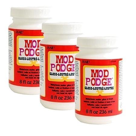 Mod Podge Plaid CS11201 All-in-1 Glue Set, 8-Ounce, Gloss Plaid Inc top coat craft adhesive