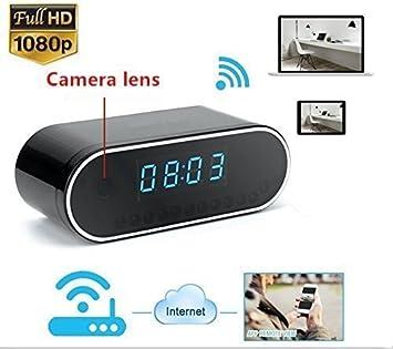 FiveSky 1080P HD Reloj Despertador WIFI Red Espía Cámara Mini DV Videocámara Portátil Grabador de Vídeo Soporte Android iPhone APP Vista Remota: Amazon.es: ...