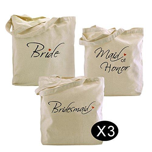 Elegantpark 1 piezas de novia Tote + 1 piezas de dama de honor Bag + 3 piezas de dama de honor bolsas de mano Set para mujer favores de boda Hen Do Fiesta Regalos de lona 100% algodón