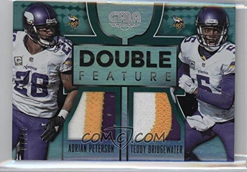 Football NFL 2016 Gala Double Feature Memorabilia Jade #6 Adrian Peterson/Teddy Bridgewater MEM /10 Vikings by