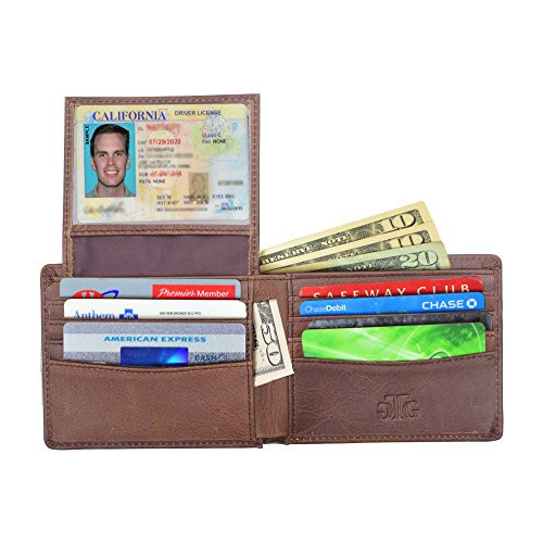 Blocking Wallet RFID and Box Distressed Leather Gift Passport Men for incl RFID Brown Sleeve 4qxR1d4