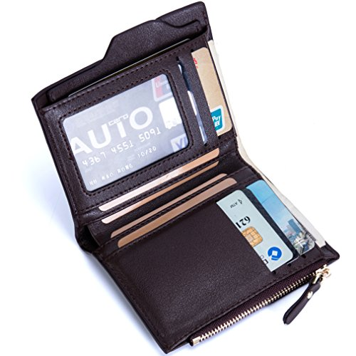 Men's RFID Blocking Security Wallet Ultimate Slim Wallet Bifold Leather Minimalist Wallets (Brown)