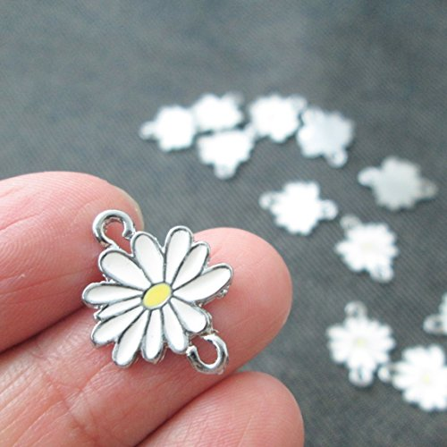 - 12 Little White Yellow Daisy Flower Connector Charms Enamel Charm Pendant (NS499)