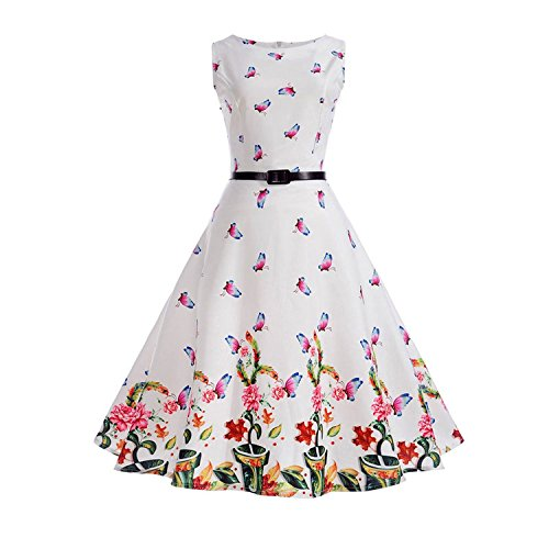 Women Vintage Dress Sleeveless Dress Elegant 50s 60s Retro Floral Print Belted Casual Dresses,001,XL ()