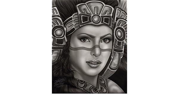 Aztec Princess by Big Ceeze Fine Art Print Mexican Woman wearing Headress