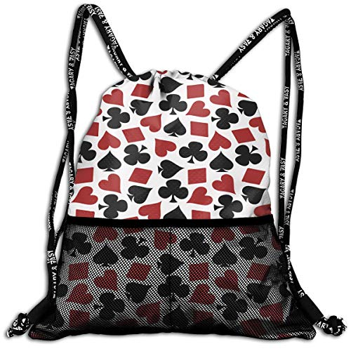 ANYWN Playing Card Suit Casino Pattern Drawstring Backpack Bags Rucksack with Mesh Pockets for Gym for School (Playing Favors Cards Wedding Personalized)