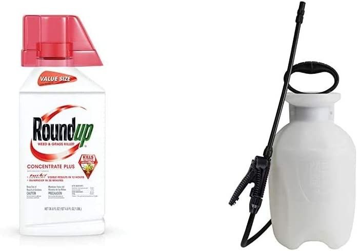 Roundup Weed & Grass Killer Concentrate Plus Value Size, 36.8 oz. & Chapin 20000 Garden Sprayer 1 Gallon Lawn