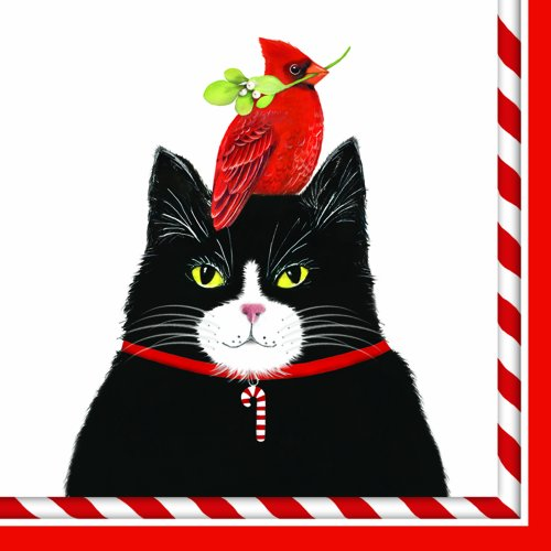 Cardinal Design - Paperproducts Design Mary Lake Thompson Holiday Paper Napkin for Cocktail, 5 by 5-Inch, Christmas Cat and Cardinal