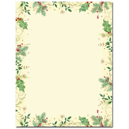 (Holly Branches Border Christmas Holiday Printer Paper)