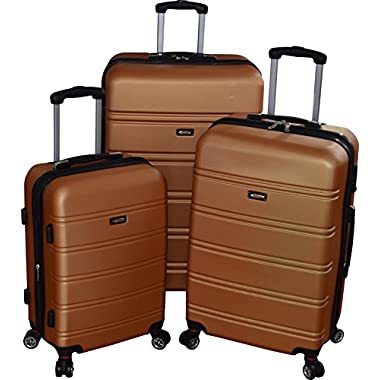 Kemyer 550 Plus TSA Lock Lightweight 3-PC Expandable Hardside Spinner Luggage Set (Gold)