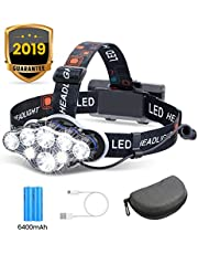 Headlamp, OUTERDO 13000 Lumens 8 LED Headlamp Rechargeable Headlight Flashlight with USB Cable 2 Batteries, 8 Modes Waterproof Head Lamp with Red Light for Outdoor Camping Cycling Running Fishing