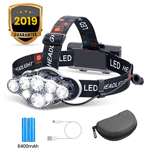 Headlamp, OUTERDO 8 LED Headlamp Rechargeable Headlight Flashlight with USB Cable 2 Batteries, 8 Modes Waterproof Head…
