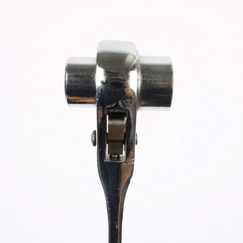 mango puntiagudo acero inoxidable Llave de carraca hexagonal MASO 17 x 19//19 x 21//19 x 24 mm doble cabeza plateado