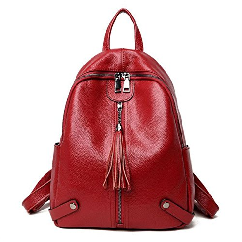 Shoulder Bags Women Handbags Soft Leather Backpack Wild Ride Uses European Red Way