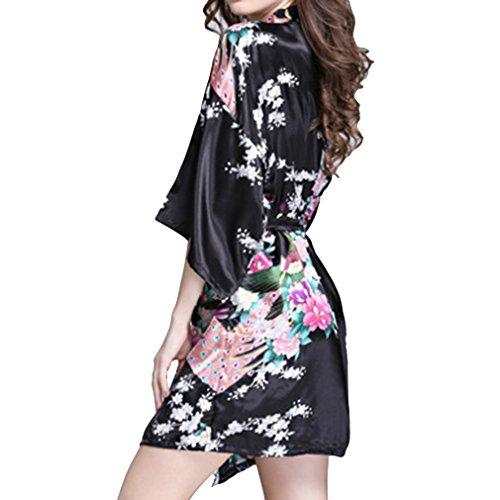 Gown For Faxu Robe Fashion Dressing Donna Juleya Kimono Camicia Accappatoio Satin Robe notte Nero corto da Floral Accappatoio 6wqZFq