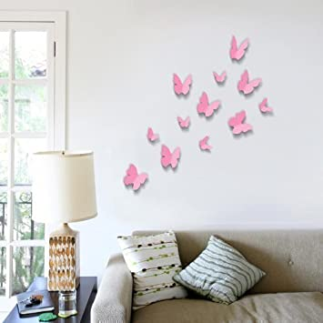 Walplus Pink D Butterfly Wall Stickers Piece Removable Self - Butterfly wall decals 3d